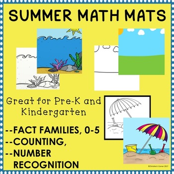Pre-K Kinder Math Mats Number Recognition Counting Fact Families 0-5 Activities