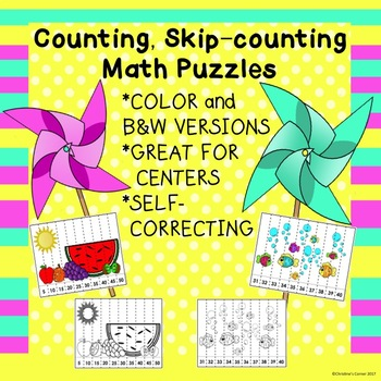 Math Counting Skip-Counting Puzzles Kinder First Second Grade Activites