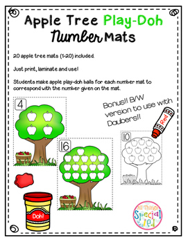 Math Mats, Play-doh apple tree number mats