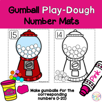 Math Mats, Play-doh Gum Ball number mats