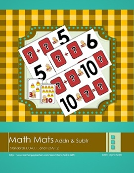 Fall Addition and Subtraction Math Mats (1.OA.A.1, 1.OA.A.2)