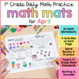 April Math Review Worksheets for First Grade