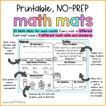 April Math Review Worksheets for First Grade  | Distance Learning