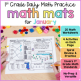 January Math Review Worksheets for First Grade