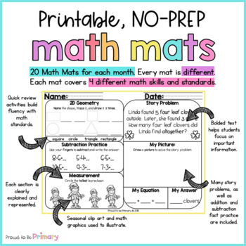 March Math Review Worksheets for First Grade