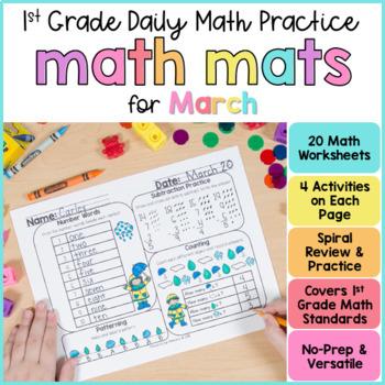 Math Mats Review for March First Grade
