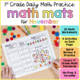 November Math Review Worksheets for First Grade