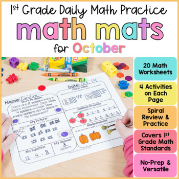 October Math Review Worksheets for First Grade