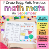 September Math Review Worksheets for First Grade