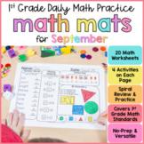 Math Review Worksheets for September | First Grade  | Goog