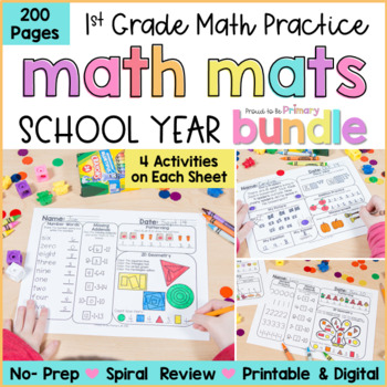 Math Review Worksheets Bundle for First Grade