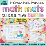 Math Review Worksheets Bundle for First Grade    Distance Learning