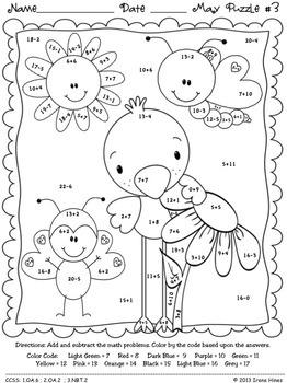 """May: Math """"May""""hem ~ Spring Math Printables Color By Codes Puzzles"""