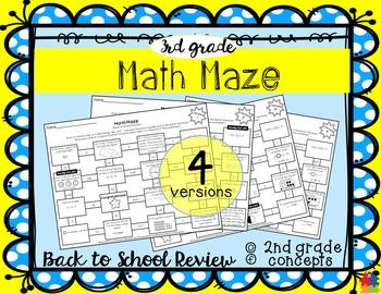 Math Maze - 3rd Grade Back to School