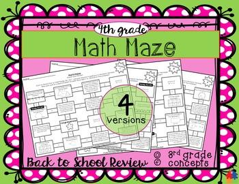 Math Maze - 4th Grade Back to School