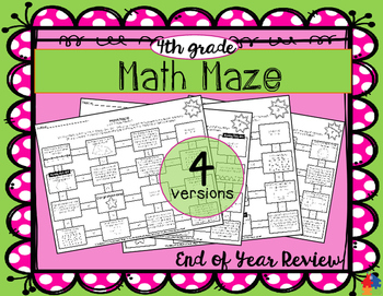 Math Maze - 4th Grade Summer / End of Year Review