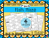 Math Maze - 6th Grade Back to School