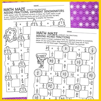 Math Maze: Adding Fractions