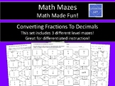 Math Maze:  Converting Fractions to Decimals