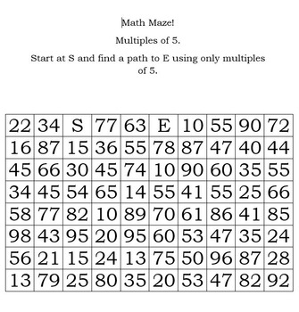 Math Maze for Multiples