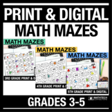 Math Mazes 3rd, 4th, & 5th Grade Bundle - Print & Digital