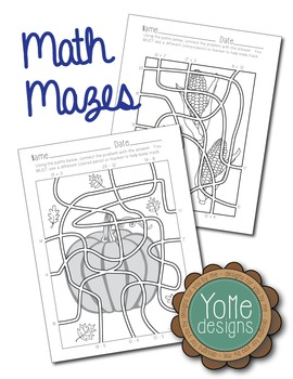 Math Mazes - Autumn Themed: Addition & Subtraction up to 20