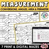 Math Mazes - Converting Measurements, Area, Perimeter & An