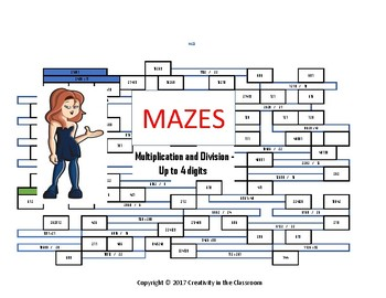 Math Mazes - Multiplication and Division - Up to 4 Digits