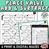 Math Mazes - Place Value, Addition & Subtraction Practice