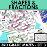 Math Mazes - Geometry and Fractions Worksheets - Digital Included