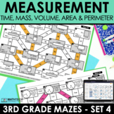Math Mazes - Time, Mass, Volume, Area & Perimeter Practice