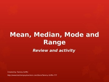 Math Mean Median Mode Range