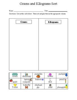 Math Measurement Grams and Kilograms Sort