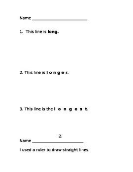 Math Measurement Journal Common Core Kindergarten