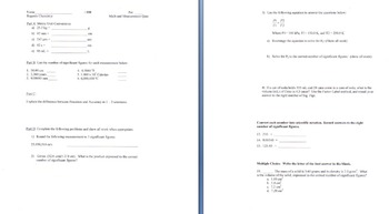 Math & Measurement Quiz for Chemistry