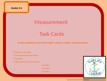 Math Measurement Task Cards Grades 4-6 Common Core Alligned
