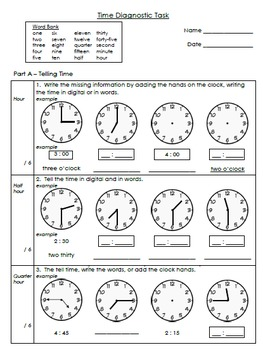 Math Measurement: Time - Diagnostic Task and Tracking