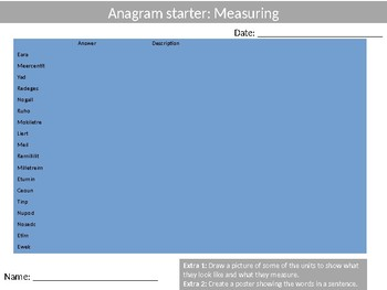 Math Measuring Wordsearch Crossword Anagram Alphabet Keyword Starter