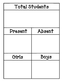 Math Meeting Calendar Form - Total Students, Absent & Pres