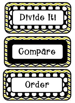 Math Meeting Headers - Black/Yellow Theme