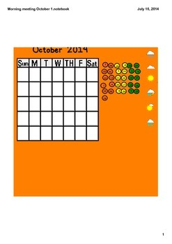 Math Meetings for Smartboard October 2014