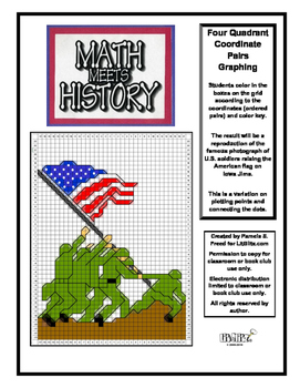 Math Meets History-Iowa Jima WWII Mystery Picture-4 Quadrant Coordinate Graphing