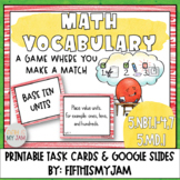 5th Grade Math Vocabulary Memory Cards Unit 1