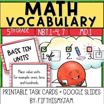 5th Grade Math Vocabulary Memory Cards Unit 1