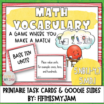 4th and 5th Grade Math Vocabulary Memory Cards Unit 1
