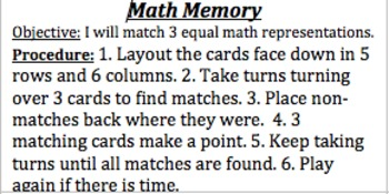 Math Memory Games Directions