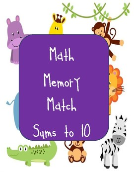Math Memory Match with Sums of 10