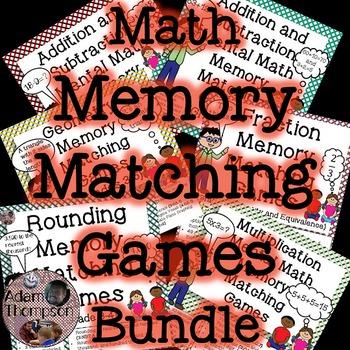Math Memory Matching Games Bundle