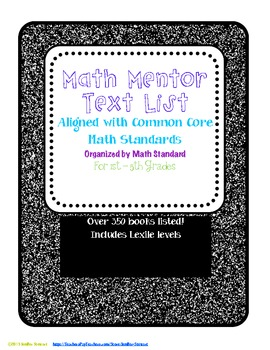 Math Mentor Text List Aligned with Common Core Standards
