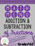 Math Menu: Addition and Subtraction of Fractions